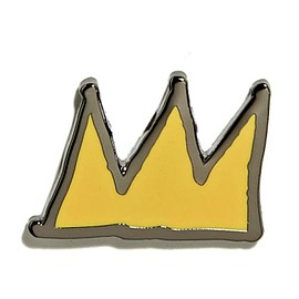 PINTRILL - JEAN-MICHEL BASQUIAT - CROWN PIN - YELLOW ON BLACK