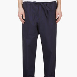 UMIT BENAN - Navy Stripe Relaxed Fit Trousers