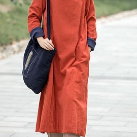 Women's long Dresses - Linen Maxi dress, long sleeves dress, Loose Fitting cotton dress, casual dress