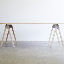 henry wilson - A-joint mini, raw pine trestle table - product images  of