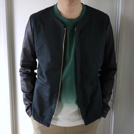 UNUSED - Cotton And Lamb Leather Collarless Jacket