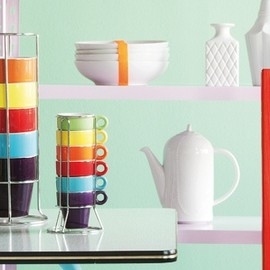 Present Time Kitchen - Rainbow Espresso & Coffee Set Tower