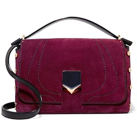 Jimmy Choo - Lockett leather-paneled suede shoulder bag