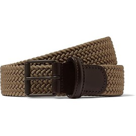 Anderson's - 3cm Khaki Leather-Trimmed Woven Elastic Belt