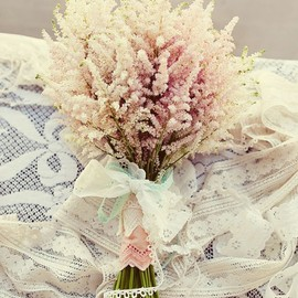 romantic bouquet of light pink astilbe