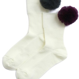 FAKUI - Fur Pom Pom Sox (white×green/purple)