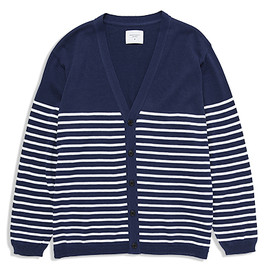 UNIVERSAL PRODUCTS - BORDER KNIT CARDIGAN[NAVY×WHITE]