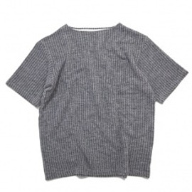 SON OF THE CHEESE - Stripe Boat Neck Tee Gray