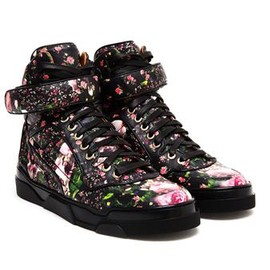 GIVENCHY - Floral Leather Hi-top Trainer
