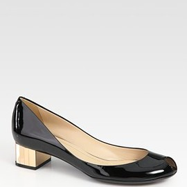 GUCCI - Delphine Patent Leather Peep Toe Pumps