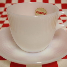 Fire King - White 1700 Line St Denis Cup & Saucer (66)