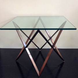 Milo Baughman - Table Bronze Geometric Form Base