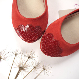 elehandmade - The Lizzie Shoes - Limited Serie of Leather Handmade Ballet Flats - Scalloped Snakeskin Toe - Size 39 Ready to Ship