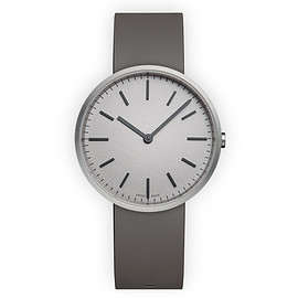 UNIFORM WARES - M37 Men's two-hand watch in brushed steel with dark grey nitrile rubber strap