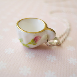 Luulla - Sterling silver necklace with miniature porcelain cup - Time for tea