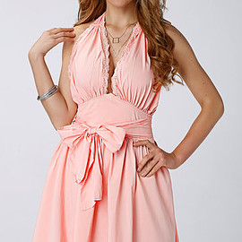 Yoins - Pink Halter Neck Backless Lace Dress with Bowknot