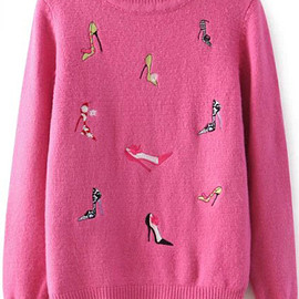 High-heeled Shoes Embroidered Pink Sweater pictures
