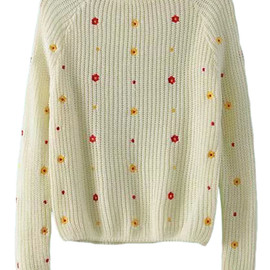 romwe - Flower Embroidered Jumper