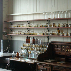 Thomas Edison's Lab - apothecary, shelves, turn of the century