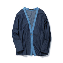 SOPHNET. - CONCHO ONE BUTTON CARDIGAN/INDIGO