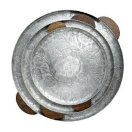 Nordal - Silver Tray with Wooden Handles