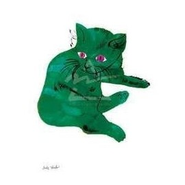 Andy Warhol - 25 Cats Named Sam and One Blue Pussy 1954 Green Cat Art Print Poster - 11x14