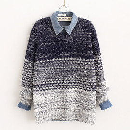fashion - [grxjy560622]Retro Sweet Gradient Color Floral Knit Sweater