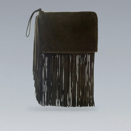 ZARA - Fringed Clutch in khaki