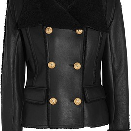 Balmain - Double-breasted shearling biker jacket