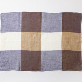 MARGARET HOWELL - BLOCK CHECK TEA TOWEL BLUE