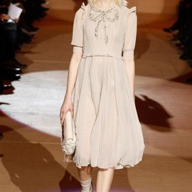 MARC JACOBS - Short Sleeve Chiffon Dress with Bow Sequin Embroidery