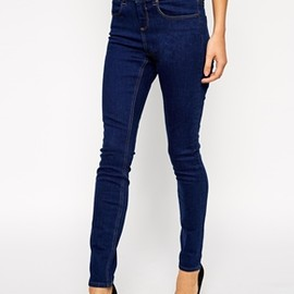asos - Mid Rise Skinny Ankle Grazer Jeans in Rich Blue