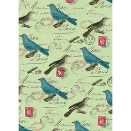 CAVALLINI - Blue BIrds on Green Letter Wrapping Paper