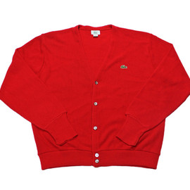 LACOSTE - Vintage 80s Red Lacoste Cardigan Sweater Made in USA Mens Size Large