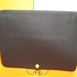 Hermes - Document Case Black×Gold