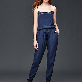 GAP - Crochet-yoke jumpsuit Product Image