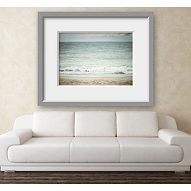 Luulla - Beach picture. Landscape photograph. Wall art decor in blue, teal, aqua, tan. 16x20. Pastel waves. Nursery wall decor.