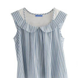 Eley Kishimoto - CHAMBRAY STRIPE PETER PAN TOP - BLUE