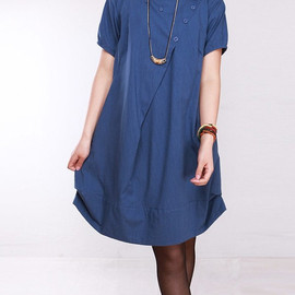 Dressco - cotton pleated loose dress shirt In blue