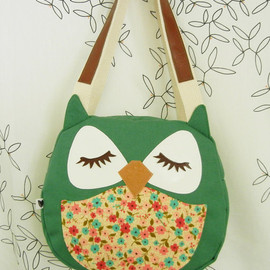 Cuore - Wendy the Owl Applique Canvas Tote Purse Handbag Shoulder bag