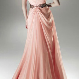 European Style Elegant One Shoulder Shirred Floor-length Party Dress