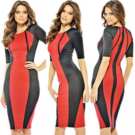Fashion Contrast Color Half Sleeve Round Neck Slim Fit Dress