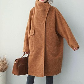 dark brown wool overcoat, Loose Fitting wool overcoat, Stand collar wool long coat