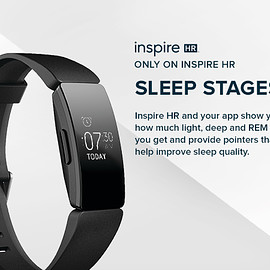 Fitbit - Fitbit Inspire HR Heart Rate & Fitness Tracker, One Size (S & L bands included)