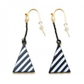 Lilou - LONG TRIANGLE CHAIN PIERCE white/black