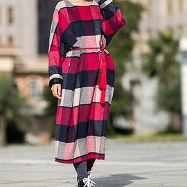 woolen dress - Winter woolen dress, vintage plaid wool robe, Wool maxi dress, loose Wool Coat dress
