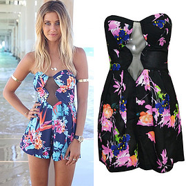 Sexy Strapless Backless Hollow Out Floral Print Jumpsuits