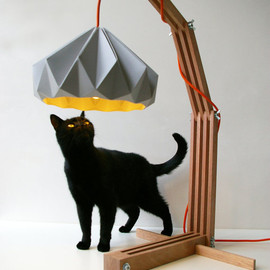 studiosnowpuppe - wooden lamp structure  with paper lampshade
