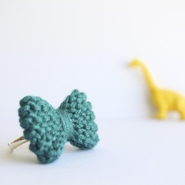 Luulla - Bow ring knitted in turquoise, cerulean: READY TO SHIP