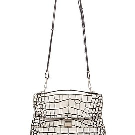 PROENZA SCHOULER - FW2015 Bi-Color Embossed Croc Kent Bag In Optic White